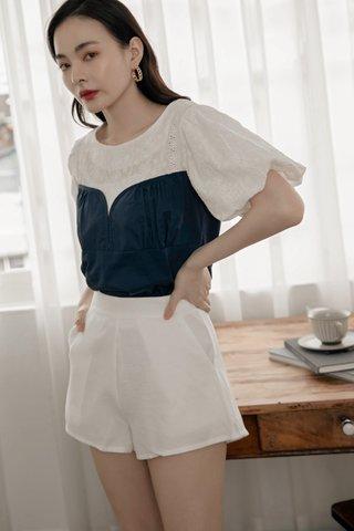 Puff Sleeve Crochet Top in Dark Blue
