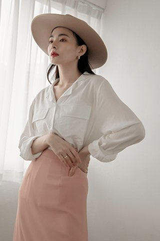 Double Pockets Blouse in White
