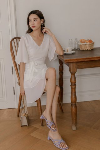 V-neck Surplice Dress in White