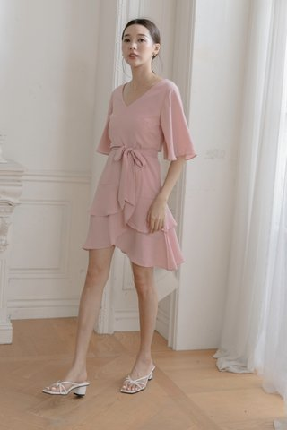 V-neck Surplice Dress in Pink