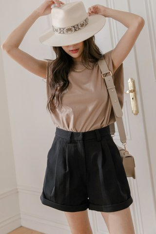 Shoulder Pad Tee in Brown