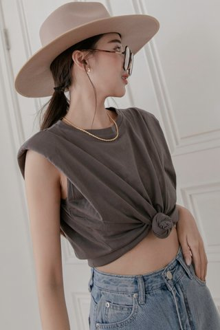 Shoulder Pad Tee in Grey