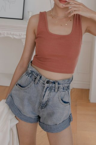 Roxie Cinched-waist Shorts in Blue