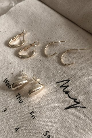 Hoop & Stud Earring Set in Gold