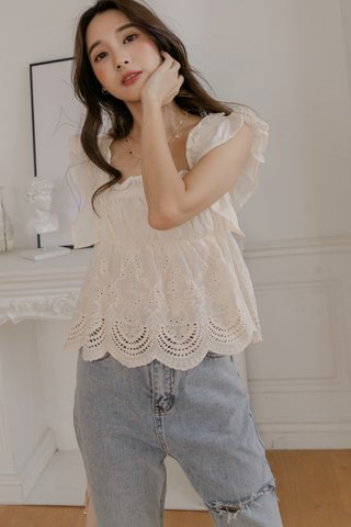 Scallop Trim Crochet Top