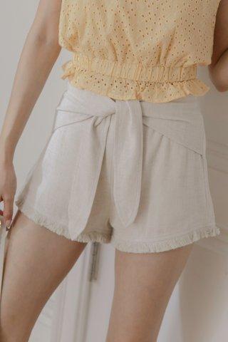 Shirlene Self-tie Shorts in Beige