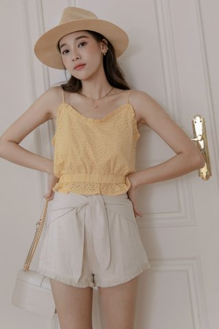 Mina Eyelet Cotton Top in Yellow