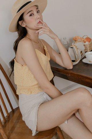 Mina Eyelet Cotton Top in Yellow