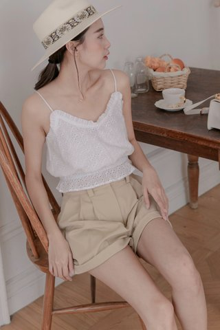 Mina Eyelet Cotton Top in White