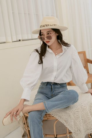 Puffy Sleeve Blouse in White
