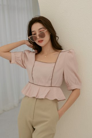 Verra Puff-Sleeve Blouse in Pink