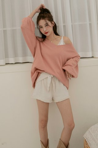 Puffy Sleeve Sweater Dress in Tea Rose
