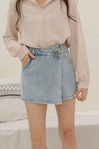 Denim Skirt Shorts in Blue