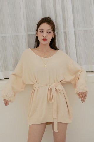 Puffy Sleeve Sweater Dress in Cream