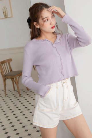 Ruffled Knitted Cardigan in Purple