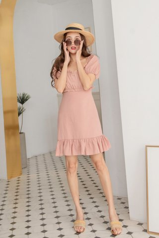 Elise Ruffled Dress in Blush