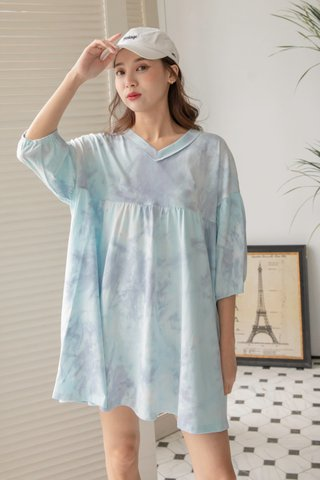 Tie-dye Babydoll Dress in Cyan Grey