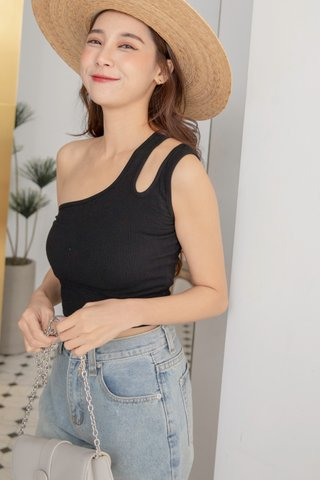 Asymmetrical Strap Cami in Black