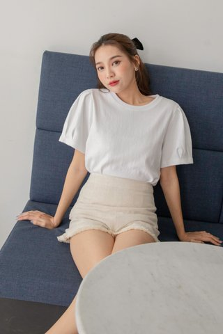 Puffy Sleeve Top in White