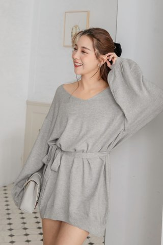 Puffy Sleeve Sweater Dress in Grey