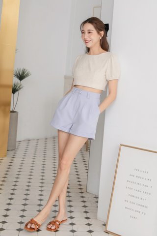 Classy Pleated Shorts in Lilac