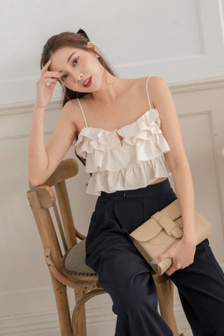 Lisa Ruffle Crop Top in Cream