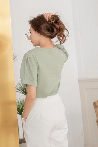 Puffy Sleeve Top in Green