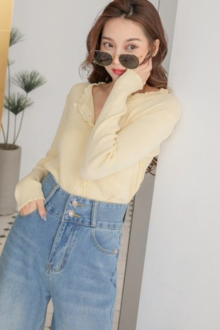 Ruffled Knitted Cardigan in Yellow