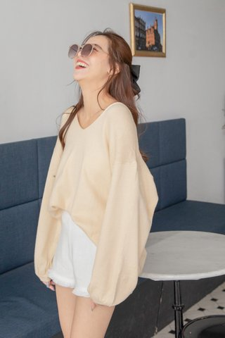 Puffy Sleeve Sweater Dress in Cream