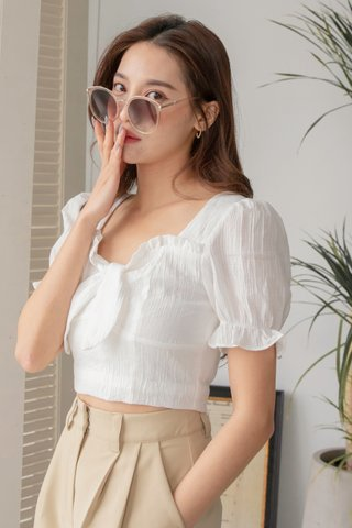 Zoey Knot Frill-trim Top in White