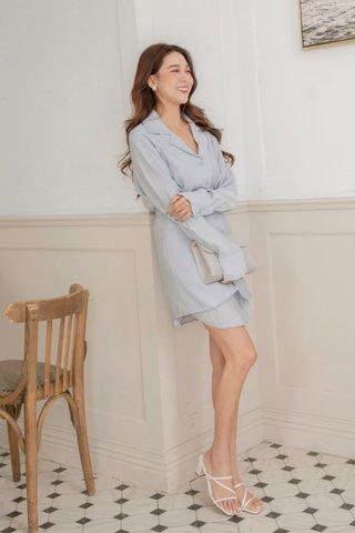 Cherri Overlap Dress in Blue