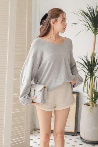 Leana Tassel Linen Shorts in Beige