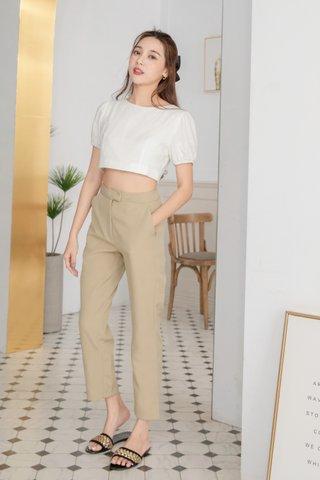 Leana Linen Crop Top in White