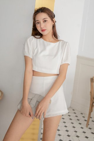 Leana Linen Crop Top in White