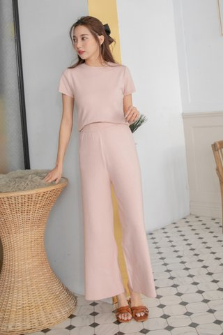 Carter Knitted Trousers in Blush